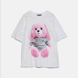 Zara pink bear front print T-shirt